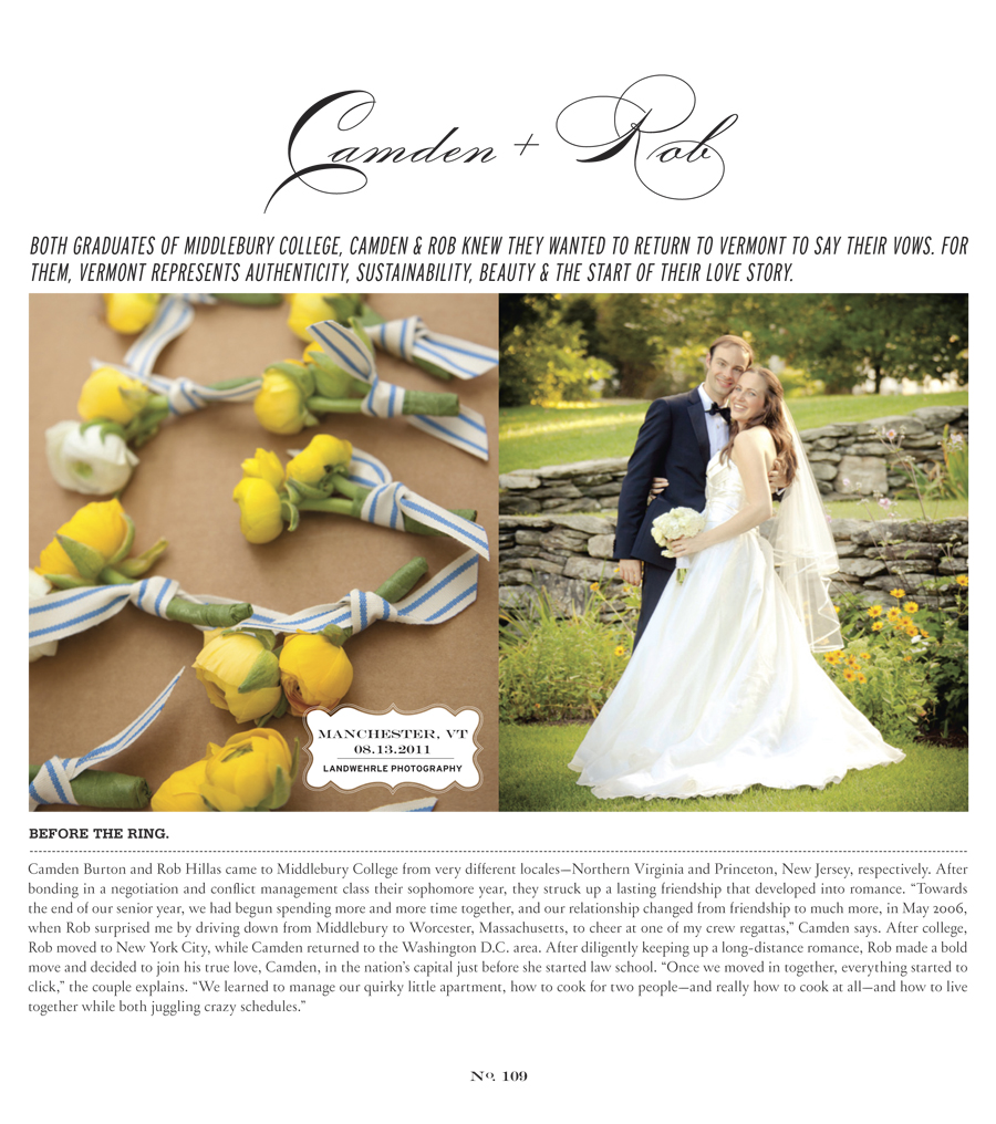 Kathleen Landwehrle Photography Presents Camden and Rob Featured in Vermont Vows