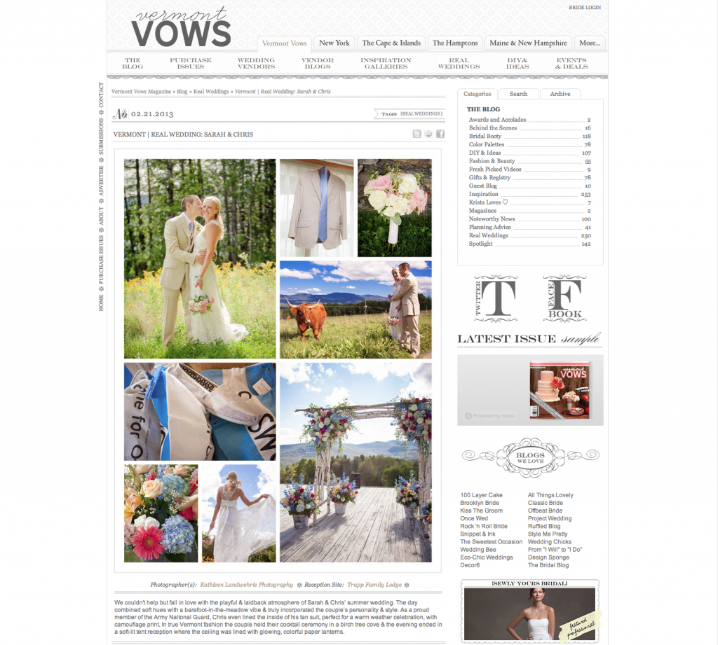 Sarah and Chris Featured at Vermont Vows