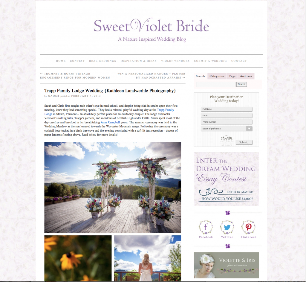 Sarah and Chris Featured at Sweet Violet Bride